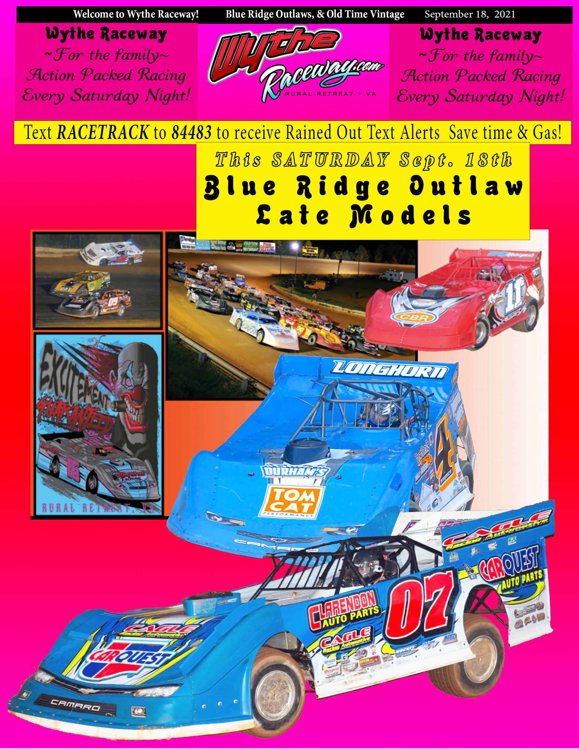 Sept. 25: BLUE RIDGE OUTLAW & Old Time Vintage Racing Schedule of Events
